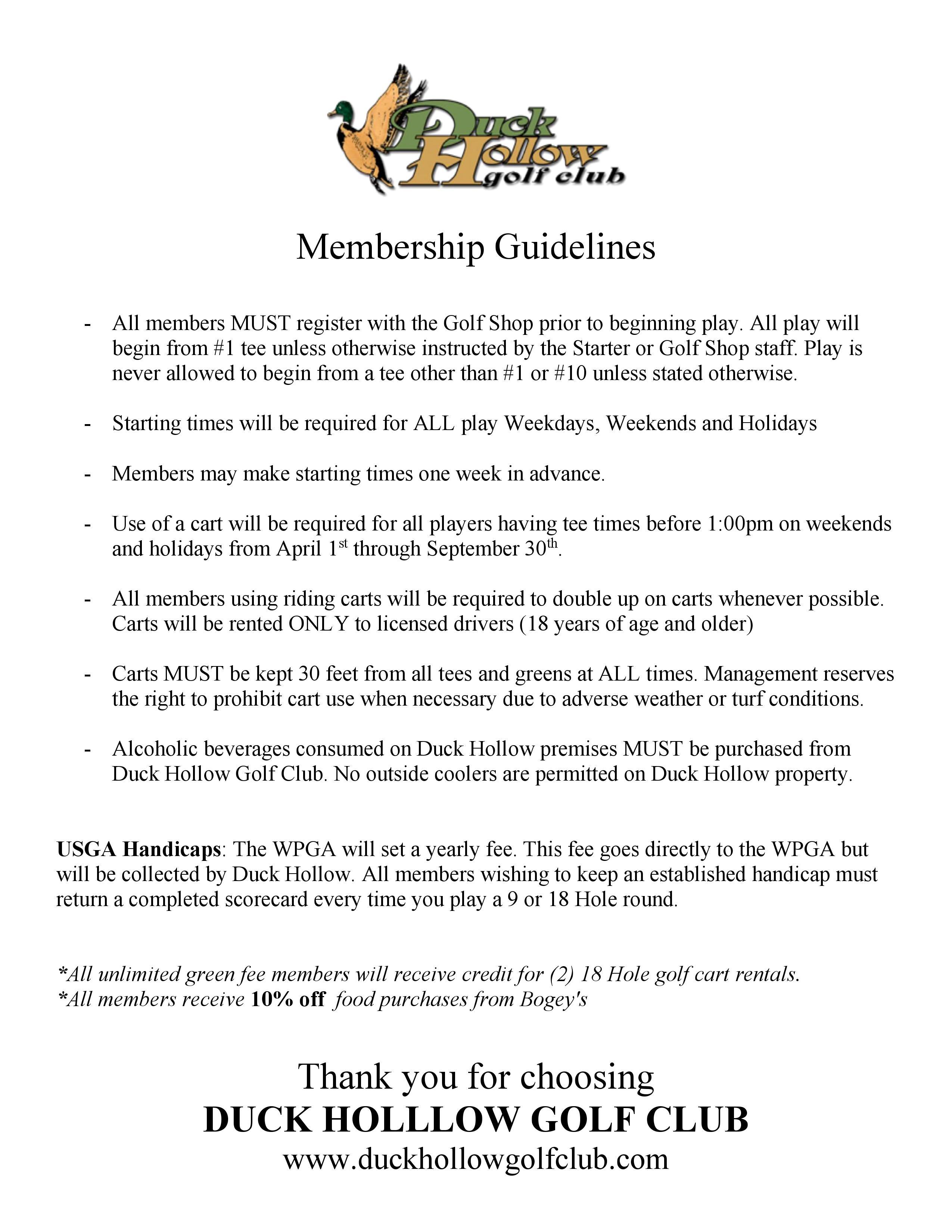 Duck Hollow Membership Guidelines